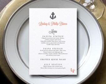 Anchor Menu, Wedding Menu, Nautical Menu, Coral & Gray Menu {set of 25}