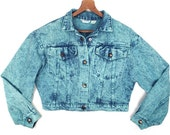 80's TURQUOISE DENIM vintage cropped jacket // overdyed stonewash jean jacket // acid wash // women's M