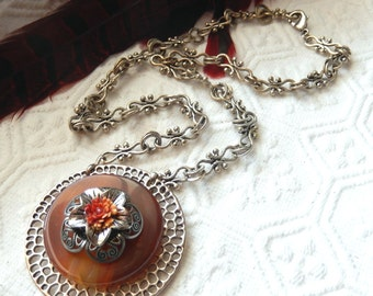 SALE......One of a Kind Silver and Gemstone Adjustable Necklace