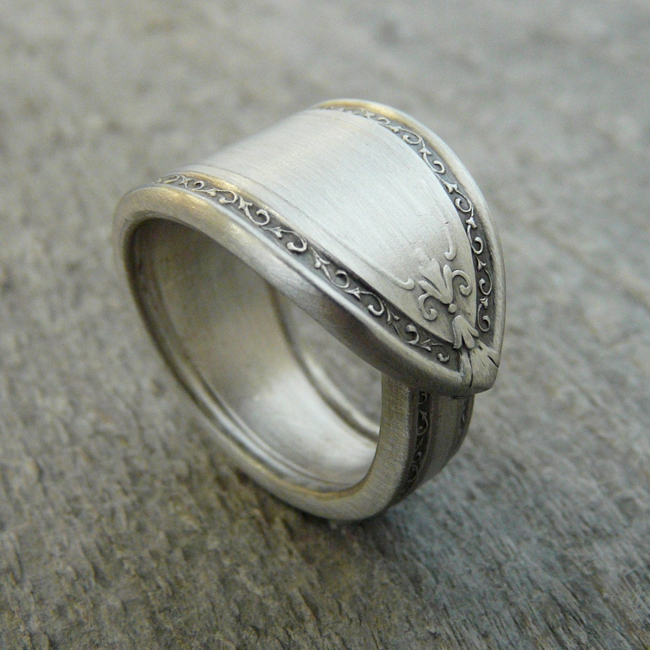 spoon ring antique silver pattern filagree by revisions on