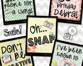 Vintage Camera and Photography SNAP  DIY Digital Party POSTERS, Easy and Fun to Create