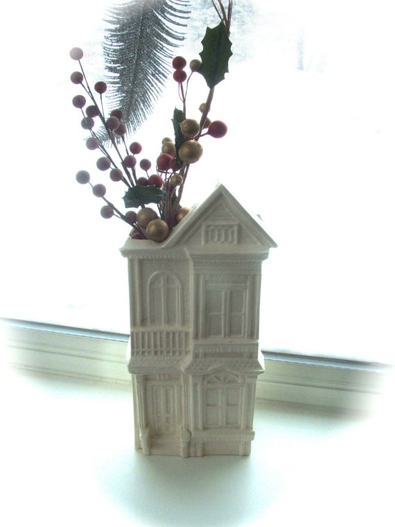 Vintage Ceramic House Vase Wall Pocket Planter