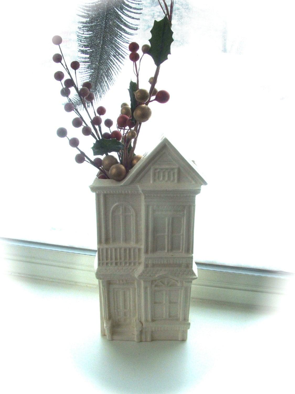 Vintage Ceramic House Vase Wall Pocket Planter