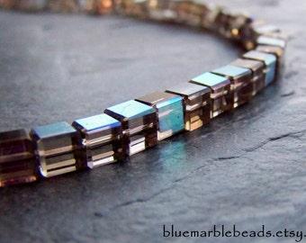 Cube Beads-Glass Cube Bead-Black Diamond Glass Bead-Black Diamond AB-Square Beads-Imperfects-6mm-Full Strand
