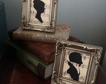 Jane Austen Style Silhouettes - A Gentleman & Young Lady on Antique Sheet Music framed with Antique Silver finish - Romantic Shabby Chic