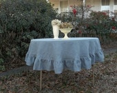 Gray Linen Tablecloth Custom Sizes READY to SHIP Round Ruffled Tablecloth Ruffled Linen Table Cloth Handmade Wedding Decorations Table Decor