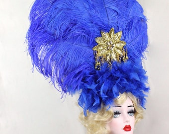Royal Blue Showgirl Feather Headdress, Burlesque Costume, Huge, Gold, Ostrich Feathers, Batcakes Couture
