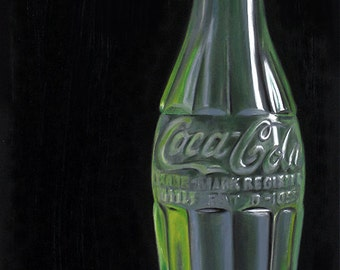 Coke Bottle 10x8 original oil painting realistic still life by Nance Danforth