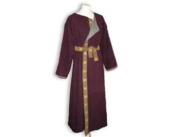 Viking Coat, medieval coat, Klappenmantel, early medieval overcoat, SCA coat, SCA garb, made to order, Greyjoy, Ironborn, Game of Thrones