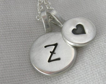 Tiny Duo Monogram and Heart Necklace