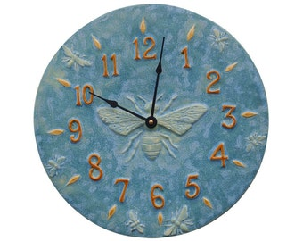 Honeybee Ceramic Wall Clock in Turquoise Glaze (13 inches in diameter)
