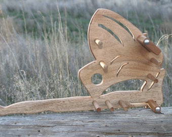 Card / Inkle weaving loom  - Cherry Wood Butterfly