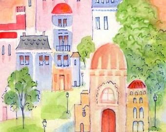 Whimsical Cityscape Print