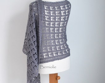 Lace crochet shawl, stole, wool, grey, gray,  M264