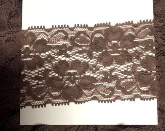 "2"" Premium Lace Stretch Elastic Trim, Floral, Lingerie, Wedding Garter, Baby Headbands - Espresso - 5 yards"