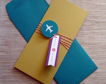 Destination Wedding Invitations with Retro Biplane Airplane Ticket Boarding Pass and Luggage Tag RSVP - DESIGN FEE