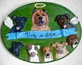 Dog is Love, Custom Pets on Plaques®, Paper Mache Dog Art, Dog Memorial, Pet Folk Art, Paper Mache