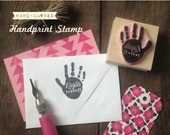 Baby or child hand print or foot print - Rubber Stamp Hand Carved Wood Mounted - Keepsake Gift for New Parents - Great 4 Birth Announcements
