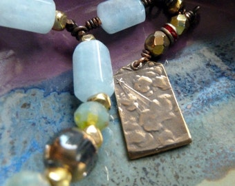 Curious Necklace, Double-sided Religious Medal, Rosary Style, Soft Blue & Green, Gold Bronze Brass, Child, Cross, Star, Cloud, Faith, Prayer
