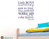 Little Boys Should Never Be Sent To Bed Peter Pan - Nursery or Bedroom - Wall Decals - Vinyl Wall Accent Art Words Stickers Decals 1744