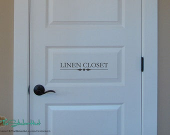 Linen Closet - Door Room - Door Decals - Vinyl Lettering - Home Decor - Vinyl Decor Wall Art Words Text Door Sticker Decal 1733