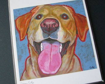 YELLOW LAB Dog 8x10 Signed Art Print from Painting by Lynn Culp