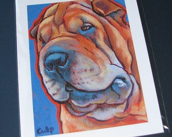SHAR PEI Dog 8x10 Signed Art Print from Painting by Lynn Culp