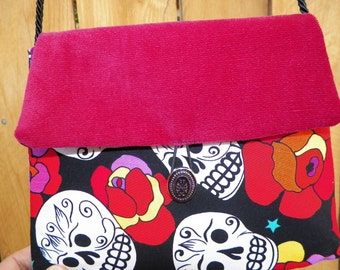 Evening Bag Skulls and Roses Red Velvet and Black Girlie Handbag  with Silk Cord Shoulder Strap