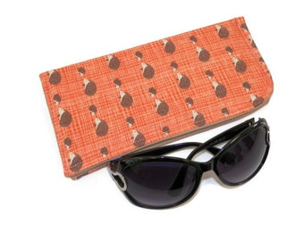 Sunglass Case Mama and Baby Hedgehogs on Peach Protective Padded Pouch