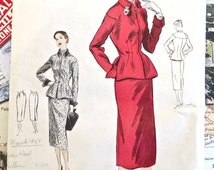 Vintage 1950s Womens Suit Pattern with Peplum - Vogue 4173