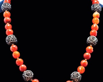 Moroccan Bronze Beads & Faceted Carnelian