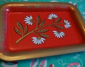 little red and gold tole tray