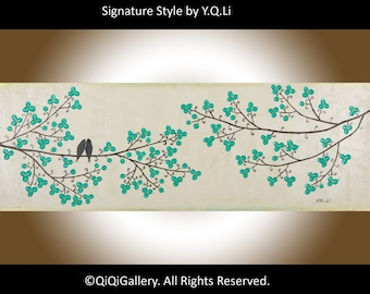 "Modern Abstrect art abstract painting green flowers tree love birds original artwork wall art canvas art ""Beauty of Spring"" by QIQIGALLERY"