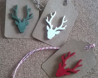 Rustic stag holiday gift tags Christmas Scotland antlers