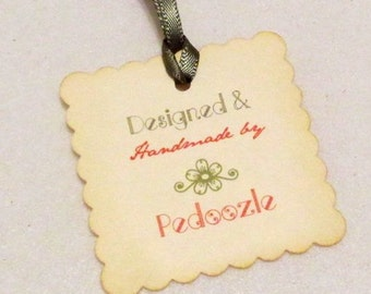 SALE -  Handmade Tags -  Set of 12 - Personalized - Designed by
