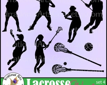 INSTaNT DOWNLOaD Lacrosse Players set 4 Women VINyL REaDY Vector digital clipart graphics 9 EPS SVG & PNG files with players, sticks ball