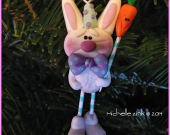 New Polymer Clay Bunny with Carrot Ornament