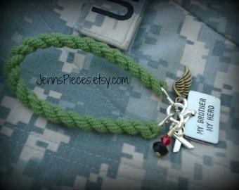 BRACELET: My Brother My Hero Boot Band Blouser charm bracelet SSG9 Army Marines Navy Air Force Coast National Guard usmc usn usaf