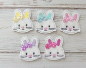 Bunny Felt Appliques, Bunny Embroidered Appliques, Easter Bunny Appliques, Set of 5 Bunny Appliques, Bunny Felties, Easter Felties