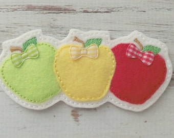 Apples Felt Headband Slider Applique, Apples Embroidered Applique, Fall Applique, Red Yellow And Green Apples Headband Slider