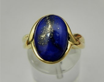 Lapis Lazuli 3.41 carats 14 x 10 mm. in 14K yellow gold Infinity ring  1901 y