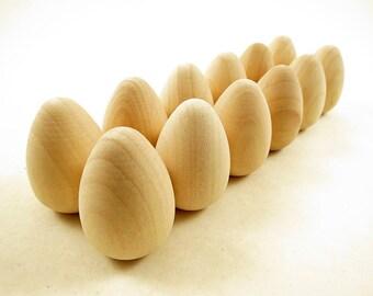 12 Wood Eggs, Small, Easter Eggs, Dozen, Wood Egg, Wooden Egg, 1 5/8 inch Unfinished Wooden Eggs for DIY