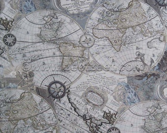 RARE WORLD MAP Grey 100% Cotton Apparel Quilting Weight Fabric by the Yard, Half-yard, or Fq Fat Quarter Travel