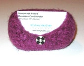 Handmade Felted Business Card Holder - Purple with Vintage Checked Button - 100% Wool (BC1-003)