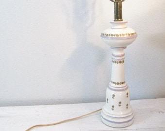 Vintage Ceramic Lamp Base with Lavender Stripes and Gold Floral Design- Works Great!