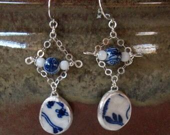 Vintage Broken China Ceramic Shards Earrings, Sterling Silver, Ceramic & Stone Beads, Japanese Pattern