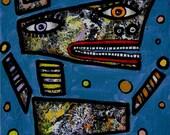 16 x 20 inch original Jeff Hughart folk outsider art Funky fun animals - BUBBLING SPRING