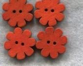 Flower Buttons Decorated Blossom Dark Orange Wooden 18mm (3/4 inch) Set of 4 /BT253F
