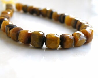 Tiger Eye Gemstone Cube Faceted Drilled Beads 6mm 17 beads 1/2 strand