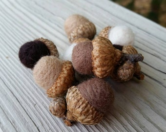 Wool Needle Felted Acorns in White, Camel, Mocha & Chocolate Brown Decorative Home Decor